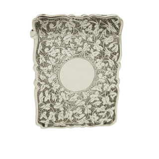 Antique Victorian Sterling Silver Card Case 1886