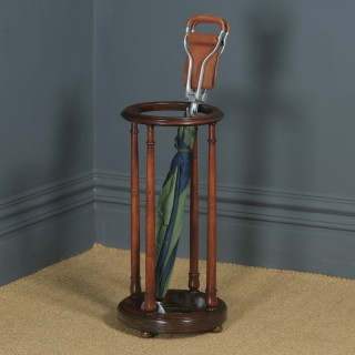 Antique English Victorian Mahogany Circular Stick & Umbrella Hall / Snooker Cue Stand (Circa 1860)