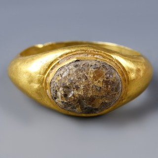 Roman Gold Ring with Glass Paste Inset