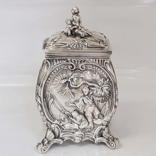 George III Silver Chinoiserie Tea Caddy
