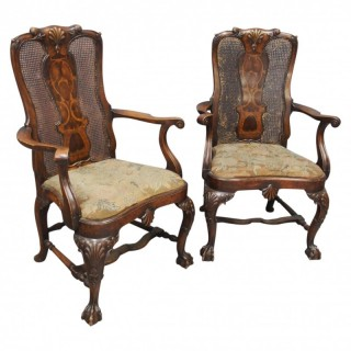 Pair of Queen Anne Style Walnut Armchairs