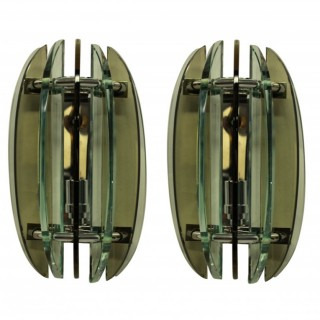 A PAIR OF COLOURED GLASS WALL LIGHTS BY VECA