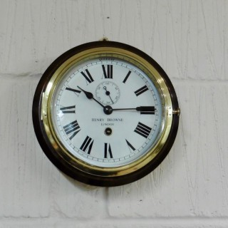 Small Brass Ships Clock by Henry Browne, London