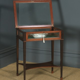 Antique English Edwardian Chippendale Style Mahogany Glass Bijouterie Display Cabinet Table (Circa 1910)