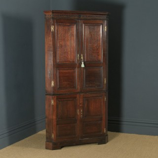 Antique English Georgian Oak Floor Standing Double Corner Cupboard (Circa 1780)