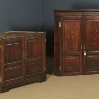 Antique English Georgian Oak Floor Standing Double Corner Cupboard (Circa 1780)