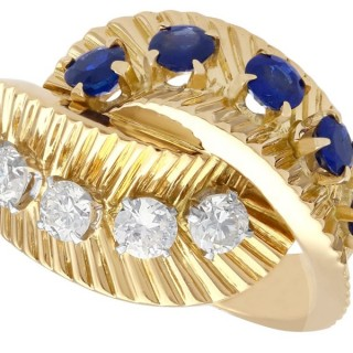 0.69ct Sapphire and 0.55ct Diamond, 18ct Yellow Gold Dress Ring by Van Cleef and Arpels - Vintage Circa 1960