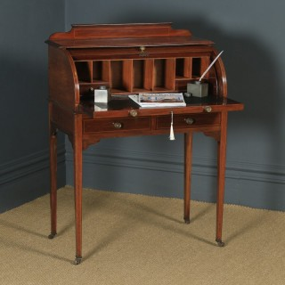 Antique English Edwardian Mahogany & Leather Cylinder Office Roll Top Writing Table / Desk (Circa 1905)