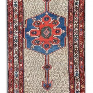 Antique Persian Rug Cream Wool Runner Rug 93x395cm