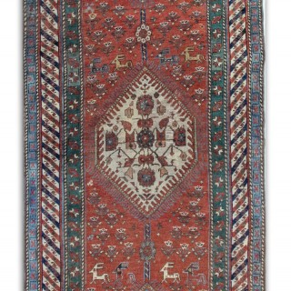 Antique Kurdish Area Rug Persian Carpet 102x372cm