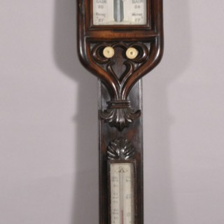 Antique 19th Century Rosewwood Mercurial Stick Barometer by E. Gilbert of Falmouth