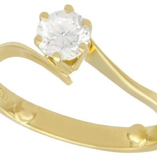 0.40 ct Diamond and 18 ct Yellow Gold Solitaire Twist Ring - Vintage Circa 1990