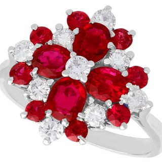 1.75 ct Ruby and 0.72 ct Diamond, 18 ct White Gold Ring - Vintage Circa 1970