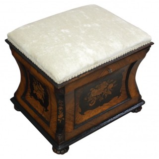 Victorian Inlaid Kingwood Box Stool