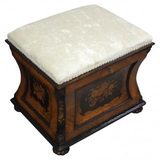 Victorian Inlaid Kingwood Box Stool