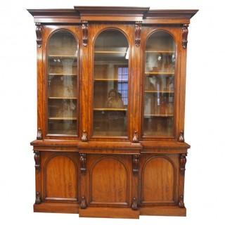Victorian Mahogany Breakfront Cabinet Bookcase