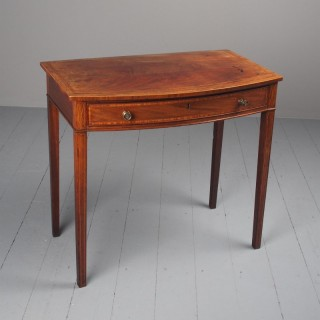 George III Bowfront Inlaid Mahogany Side Table