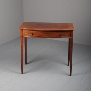 George III Bowfront Inlaid Mahogany Side Table