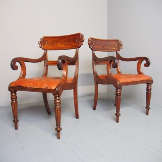 Pair of George IV Mahogany Armchairs