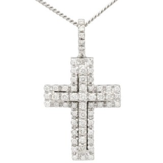 0.95 ct Diamond and 18 ct White Gold Cross Pendant - Vintage German Circa 1990