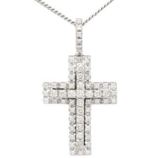 0.95 ct Diamond and 18 ct White Gold Cross Pendant - Vintage German Circa 1990