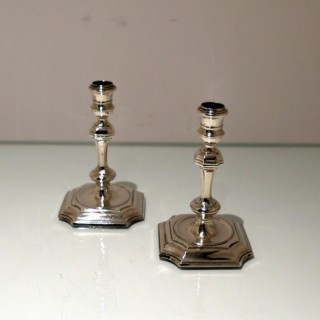 Early 18th Century Antique George I Britannia Silver Pair Candlesticks London 1719 William Lukin