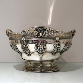 Early 20th Century Antique George V Sterling Silver Large Oval Bowl London 1918 Wakely & Wheeler