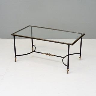 Steel and Brass Glass Top Coffee Table