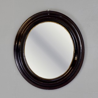 Petite Ebonised Oval Mirror