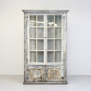 Glazed Full Height Two Door Corner Cupboard