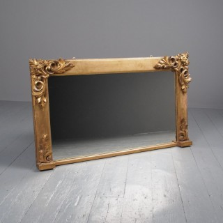 Victorian Hand-Carved Giltwood Overmantel Mirror