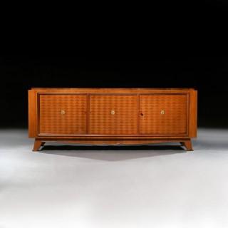 Jules Leleu, French Art Deco Walnut Parquetry Buffet Sideboard Signed Jules Leleu