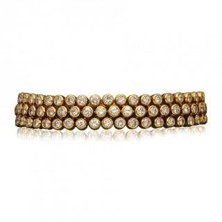 Cartier Paris - Ultra Flexible 18ct Gold Diamond Bracelet circa 1970s