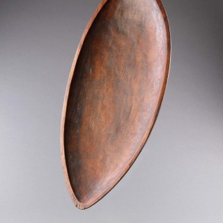 A Fine and Rare Polynesian Austral Islands Stone Carved Shallow Leaf Shaped Dish 'Umete'