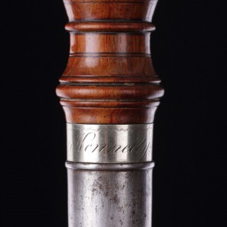 Scottish Sailors Fid or Marlinspike of Rosewood Carved with an Acanthus Leaf Shaped Pommel and a Steel Shaft with a Silver Collar  Inscribed 'James Kennedy Rigger Perth'