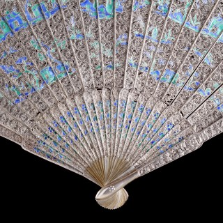 A Fine Chinese Export Enamelled Silver Gilt Fan