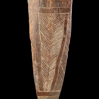 Rare Australian Aboriginal New South Wales Western Victoria South East of the Murray River Region Stone Cut Dense Hardwood Narrow Parrying Shield