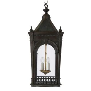 Antique architectural Victorian period brass four-light lantern