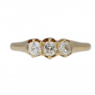 Old cut diamond three stone ring, circa 1905.