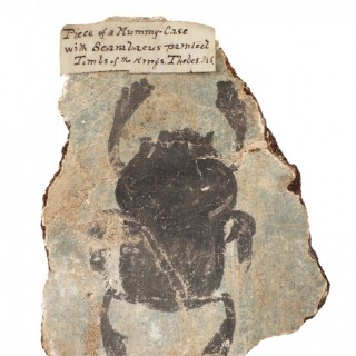 Ancient Egyptian Painted Fragment of a Cartonnage Case from a Sarcophagus Depicting a Scarab Beetle