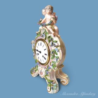 A Decorative Meissen Porcelain Clock With Putti