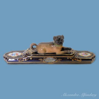 A Meissen Porcelain Pug Paperweight