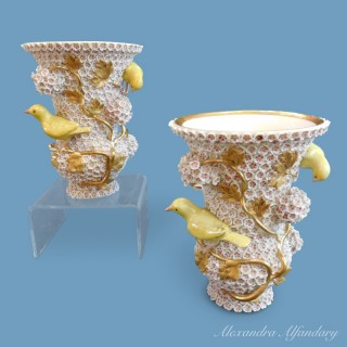 A Pair Of Meissen Porcelain Snowball Vases