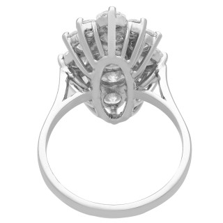3.96 ct Diamond and 18 ct White Gold Dress Ring - Vintage French Circa 1970