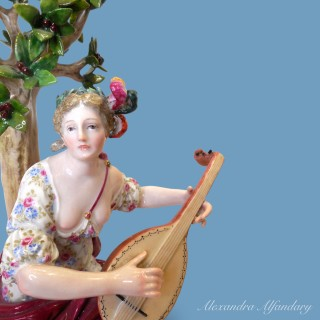 Two Meissen Porcelain Groups Representing Music And Literature