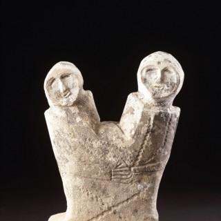 Ancient Late iron Age Near Eastern Levantine Philistine Carved Limestone Votive Double Spirit Figure