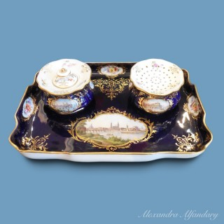 A Fine Meissen Topographical Inkwell