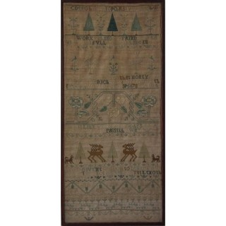 Antique Sampler Silkwork Band Sampler, circa 1740