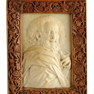 Fine Netherlandish Ivory Relief Portrait Plaque of the Philosopher Democritus