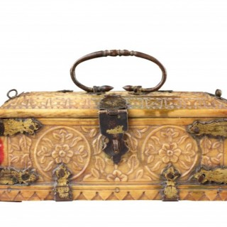 Northern India Mughal Small Carved Ivory Casket